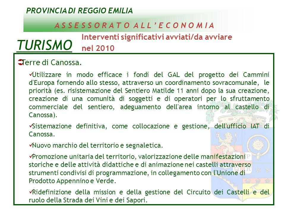 PROVINCIA DI REGGIO EMILIA A S S E S S O R A T O A L L E C O N O M I A TURISMO Interventi significativi avviati/da avviare nel 2010 Terre di Canossa.