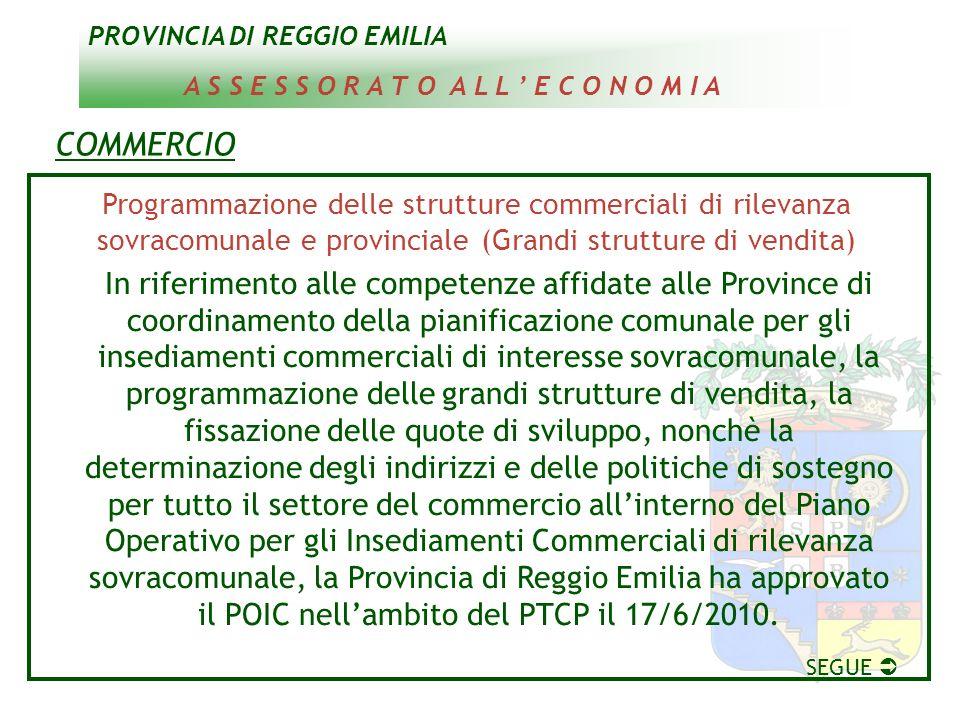 PROVINCIA DI REGGIO EMILIA A S S E S S O R A T O A L L E C O N O M I A COMMERCIO Programmazione delle strutture commerciali di rilevanza sovracomunale
