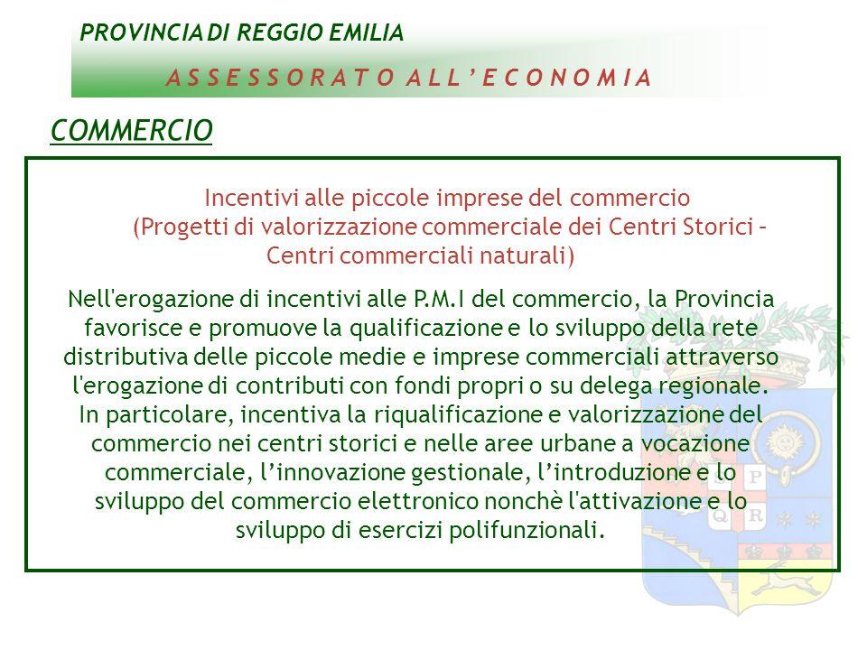 PROVINCIA DI REGGIO EMILIA A S S E S S O R A T O A L L E C O N O M I A COMMERCIO Incentivi alle piccole imprese del commercio (Progetti di valorizzazi