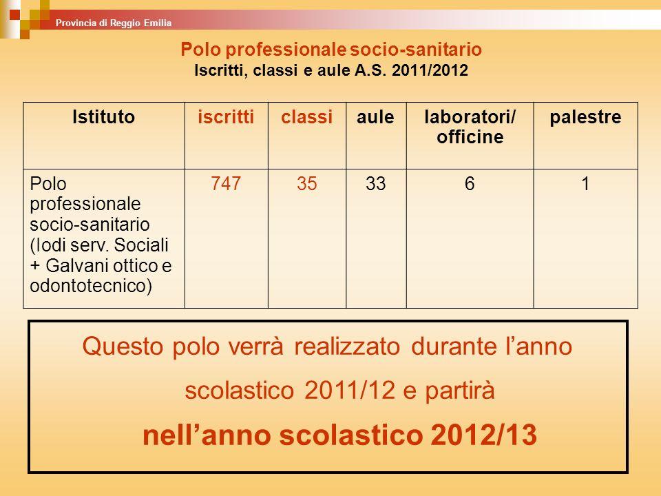 Polo professionale socio-sanitario Iscritti, classi e aule A.S. 2011/2012 Istitutoiscritticlassiaulelaboratori/ officine palestre Polo professionale s