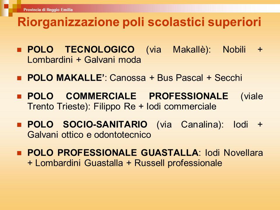 POLO TECNOLOGICO (via Makallè): Nobili + Lombardini + Galvani moda POLO MAKALLE: Canossa + Bus Pascal + Secchi POLO COMMERCIALE PROFESSIONALE (viale Trento Trieste): Filippo Re + Iodi commerciale POLO SOCIO-SANITARIO (via Canalina): Iodi + Galvani ottico e odontotecnico POLO PROFESSIONALE GUASTALLA: Iodi Novellara + Lombardini Guastalla + Russell professionale Provincia di Reggio Emilia Riorganizzazione poli scolastici superiori