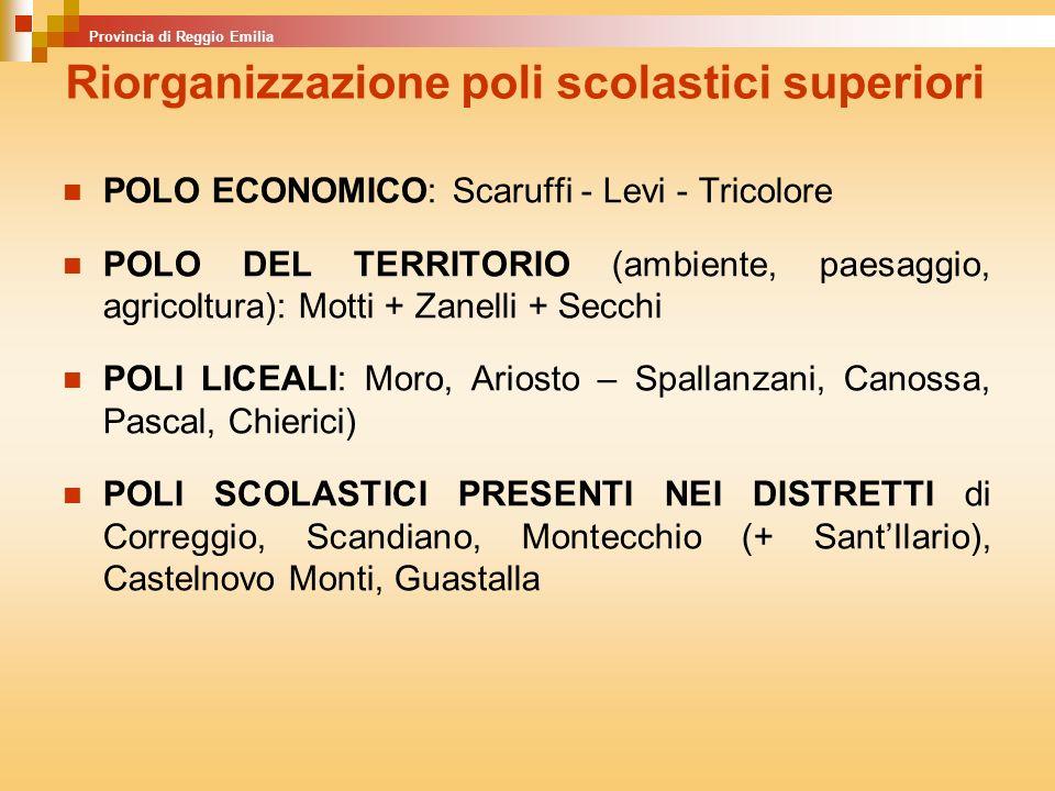 POLO ECONOMICO: Scaruffi - Levi - Tricolore POLO DEL TERRITORIO (ambiente, paesaggio, agricoltura): Motti + Zanelli + Secchi POLI LICEALI: Moro, Arios