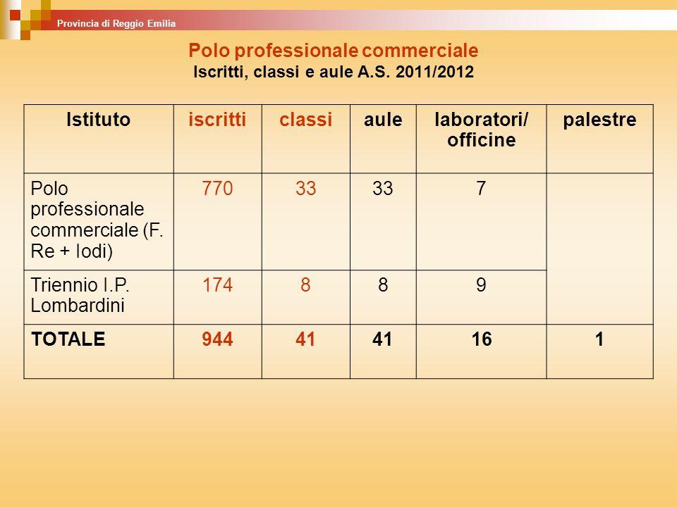 Polo professionale commerciale Iscritti, classi e aule A.S. 2011/2012 Istitutoiscritticlassiaulelaboratori/ officine palestre Polo professionale comme