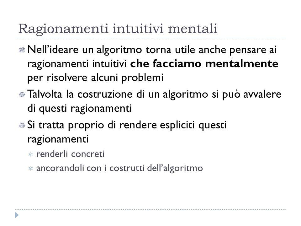 Ragionamenti intuitivi mentali Nellideare un algoritmo torna utile anche pensare ai ragionamenti intuitivi che facciamo mentalmente per risolvere alcu