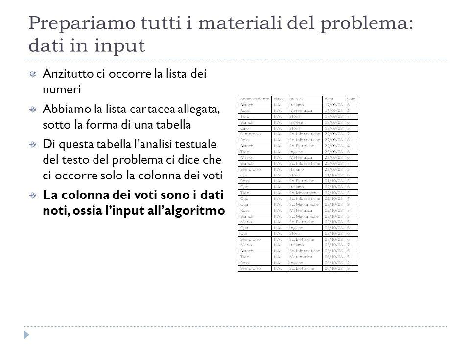 Prepariamo tutti i materiali del problema: dati in input Anzitutto ci occorre la lista dei numeri Abbiamo la lista cartacea allegata, sotto la forma d
