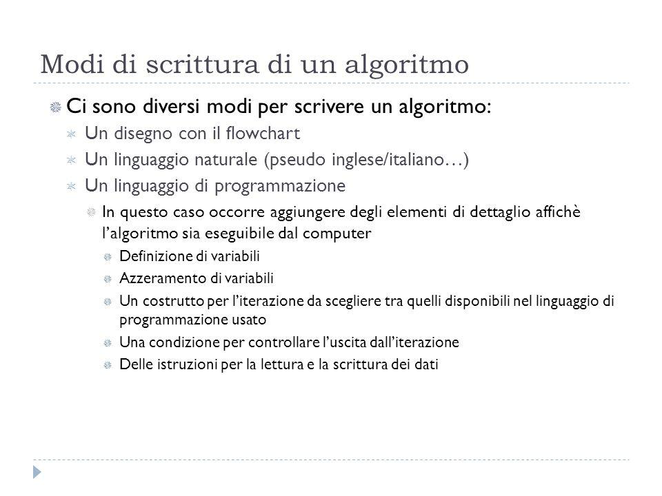 Modi di scrittura di un algoritmo Ci sono diversi modi per scrivere un algoritmo: Un disegno con il flowchart Un linguaggio naturale (pseudo inglese/i