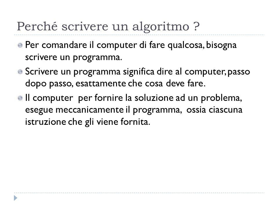 Perché scrivere un algoritmo ? Per comandare il computer di fare qualcosa, bisogna scrivere un programma. Scrivere un programma significa dire al comp