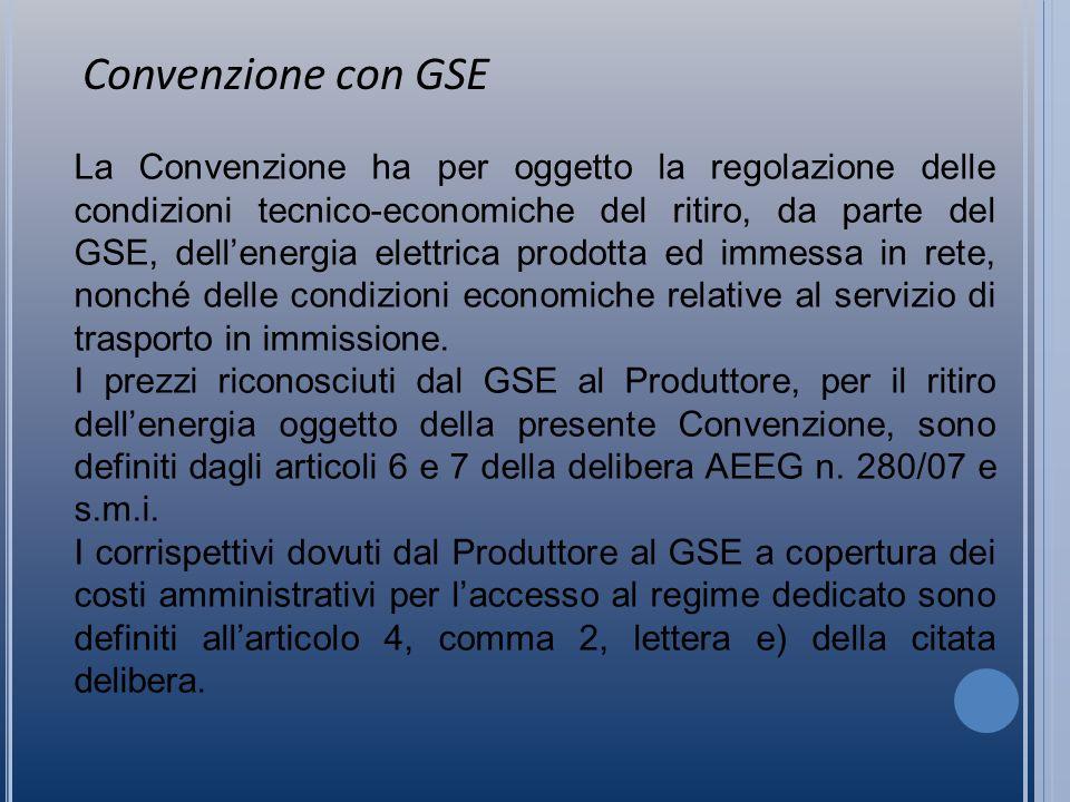 La Convenzione ha per oggetto la regolazione delle condizioni tecnico-economiche del ritiro, da parte del GSE, dellenergia elettrica prodotta ed immessa in rete, nonché delle condizioni economiche relative al servizio di trasporto in immissione.