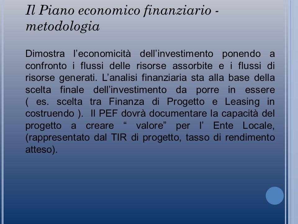 Il Piano economico finanziario - metodologia Dimostra leconomicità dellinvestimento ponendo a confronto i flussi delle risorse assorbite e i flussi di risorse generati.