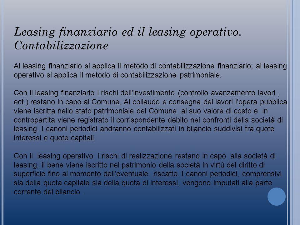 Leasing finanziario ed il leasing operativo.
