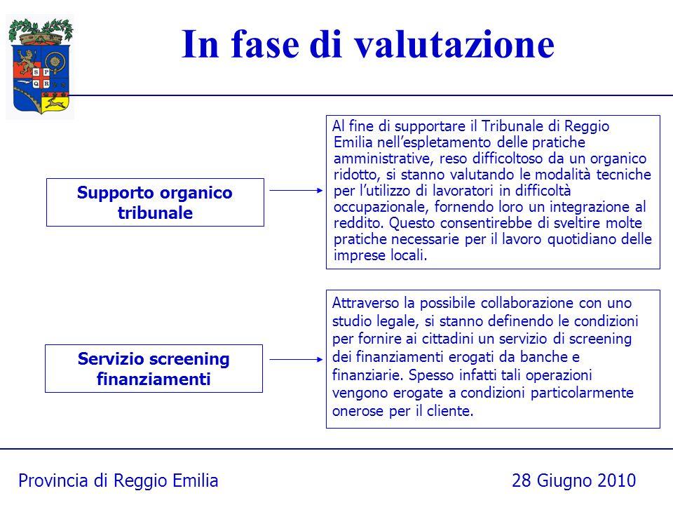 Provincia di Reggio Emilia28 Giugno 2010 Al fine di supportare il Tribunale di Reggio Emilia nellespletamento delle pratiche amministrative, reso diff