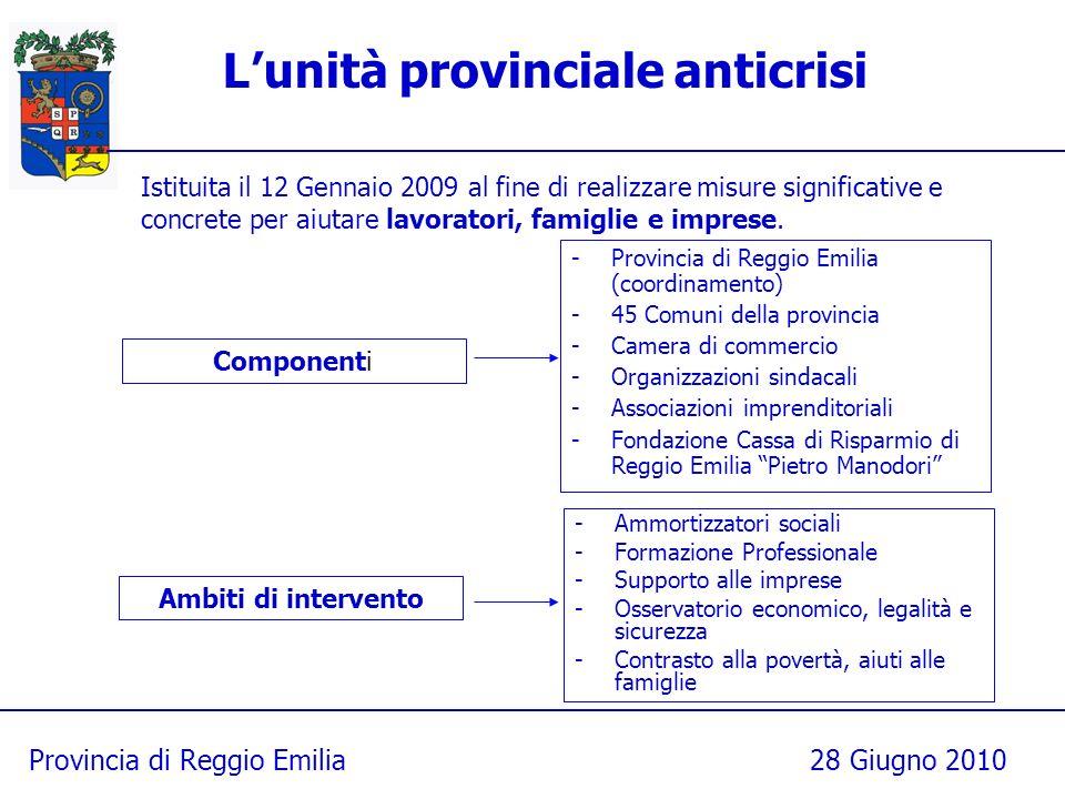 Provincia di Reggio Emilia28 Giugno 2010 Lunità provinciale anticrisi -Provincia di Reggio Emilia (coordinamento) -45 Comuni della provincia -Camera d