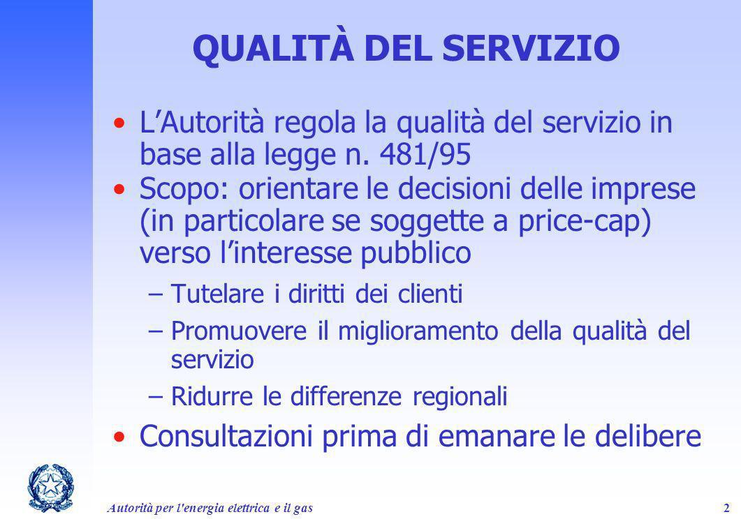 Autorità per l'energia elettrica e il gas2 QUALITÀ DEL SERVIZIO LAutorità regola la qualità del servizio in base alla legge n. 481/95 Scopo: orientare