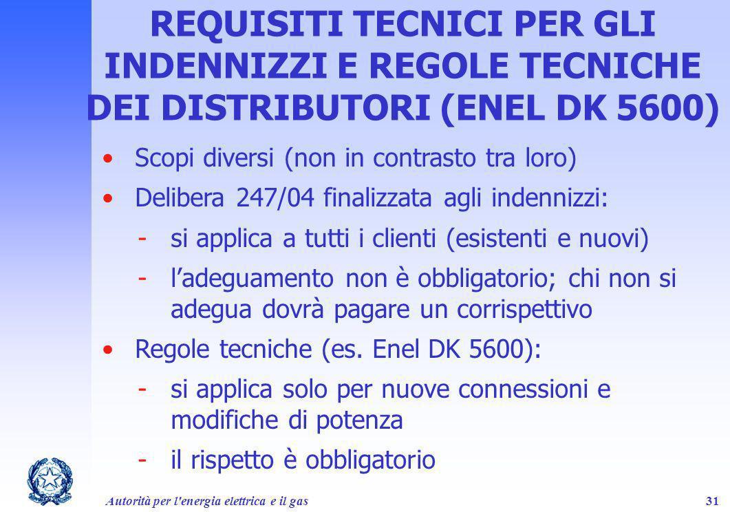 Autorità per l'energia elettrica e il gas31 REQUISITI TECNICI PER GLI INDENNIZZI E REGOLE TECNICHE DEI DISTRIBUTORI (ENEL DK 5600) Scopi diversi (non