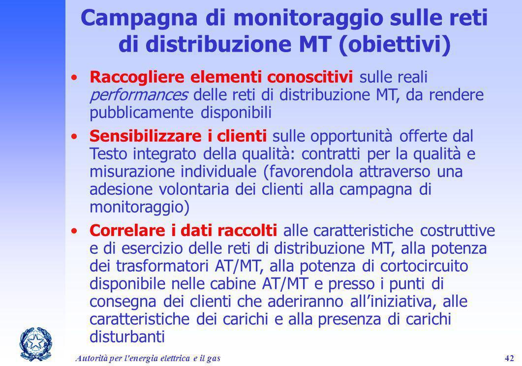 Autorità per l'energia elettrica e il gas42 Campagna di monitoraggio sulle reti di distribuzione MT (obiettivi) Raccogliere elementi conoscitivi sulle