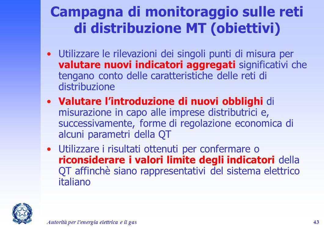 Autorità per l'energia elettrica e il gas43 Campagna di monitoraggio sulle reti di distribuzione MT (obiettivi) Utilizzare le rilevazioni dei singoli