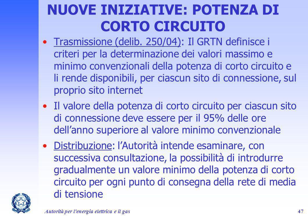 Autorità per l'energia elettrica e il gas47 NUOVE INIZIATIVE: POTENZA DI CORTO CIRCUITO Trasmissione (delib. 250/04): Il GRTN definisce i criteri per