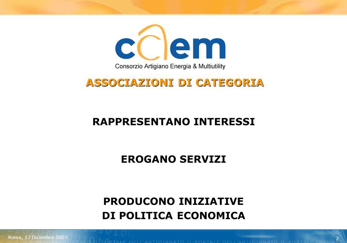 Roma, 17 Dicembre 2003 3 = ASSOCIAZIONI ARTIGIANE DEL TRIVENETO ADERENTI ALLA CONFARTIGIANATO