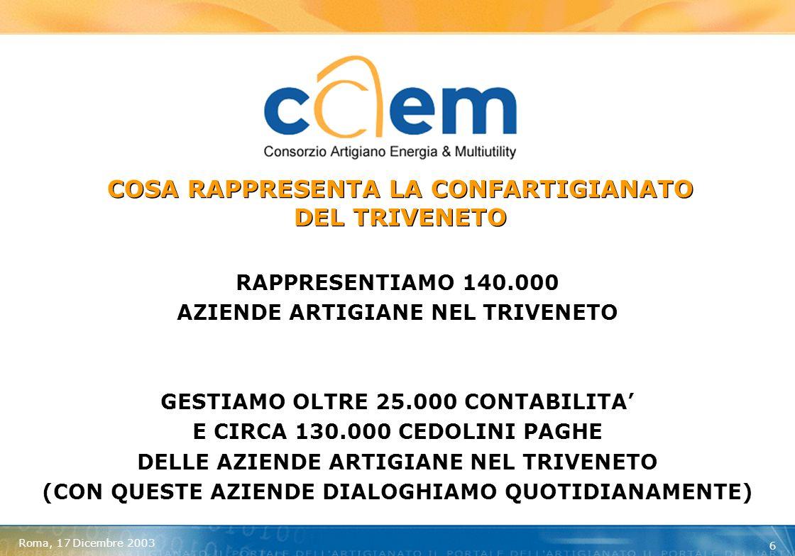 Roma, 17 Dicembre 2003 7 OSSERVATORIO ASSOCIAZIONE ARTIGIANI DELLA PROVINCIA DI VICENZA MEDIA kWh INFERIORI A 50.000 = 18.960 MEDIA kWh DA 50.001 A 100.000 = 72.591 MEDIA kWh DA 100.001 A 1.000.000 = 283.476 N.