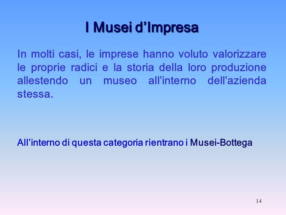 14 I Musei dImpresa In molti casi, le imprese hanno voluto valorizzare le proprie radici e la storia della loro produzione allestendo un museo allinterno dellazienda stessa.