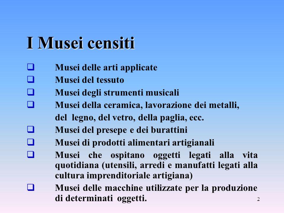 2 I Musei censiti Musei delle arti applicate Musei del tessuto Musei degli strumenti musicali Musei della ceramica, lavorazione dei metalli, del legno, del vetro, della paglia, ecc.