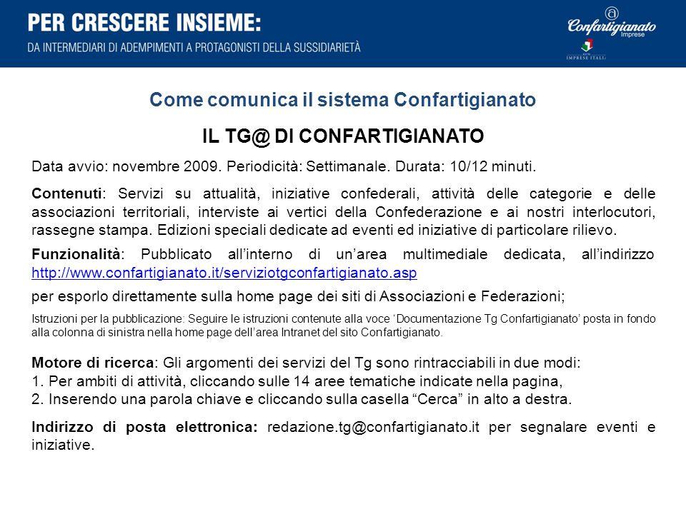Come comunica il sistema Confartigianato IL TG@ DI CONFARTIGIANATO Data avvio: novembre 2009. Periodicità: Settimanale. Durata: 10/12 minuti. Contenut