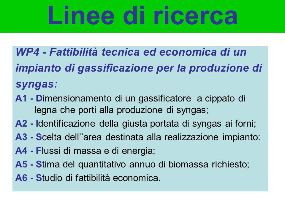 WP4 - Fattibilità tecnica ed economica di un impianto di gassificazione per la produzione di syngas: A1 - Dimensionamento di un gassificatore a cippat