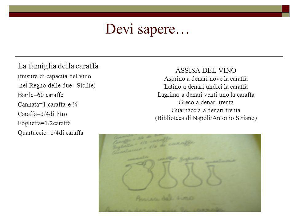Devi sapere… La famiglia della caraffa (misure di capacità del vino nel Regno delle due Sicilie) Barile=60 caraffe Cannata=1 caraffa e ¾ Caraffa=3/4di