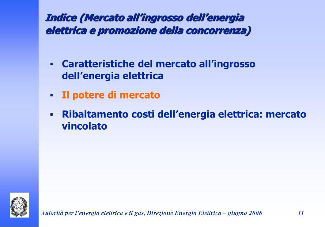 Autorità per lenergia elettrica e il gas, Direzione Energia Elettrica – giugno 200611 Caratteristiche del mercato allingrosso dellenergia elettrica Il