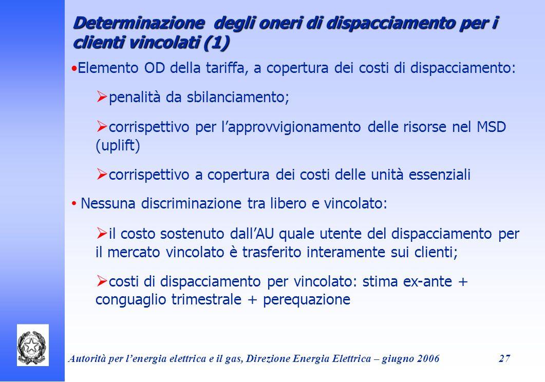Autorità per lenergia elettrica e il gas, Direzione Energia Elettrica – giugno 200627 Determinazione degli oneri di dispacciamento per i clienti vinco