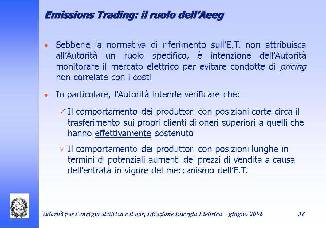 Autorità per lenergia elettrica e il gas, Direzione Energia Elettrica – giugno 200638 Emissions Trading: il ruolo dellAeeg Sebbene la normativa di rif