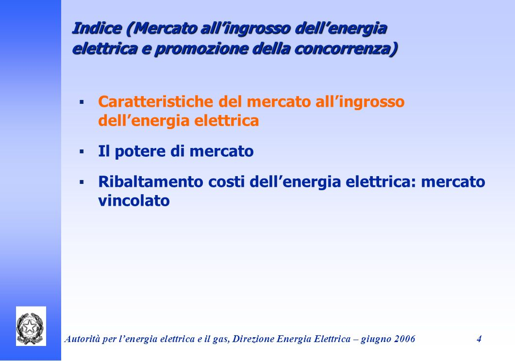 Autorità per lenergia elettrica e il gas, Direzione Energia Elettrica – giugno 20065 Caratteristiche peculiari -Uso di uninfrastruttura condivisa -Estrema onerosità dello stoccaggio -Scarsa elasticità della domanda -Costi fissi rilevanti -Tempi lunghi di ingresso di nuova capacità Caratteristiche del sistema elettrico Effetti - -Forte segmentazione del mercato (no stoccaggio/ostacoli ad arbitraggio intertemporale & congestioni sulla rete/ostacoli ad arbitraggio geografico) - -Lenta trasformazione contesto competivivo