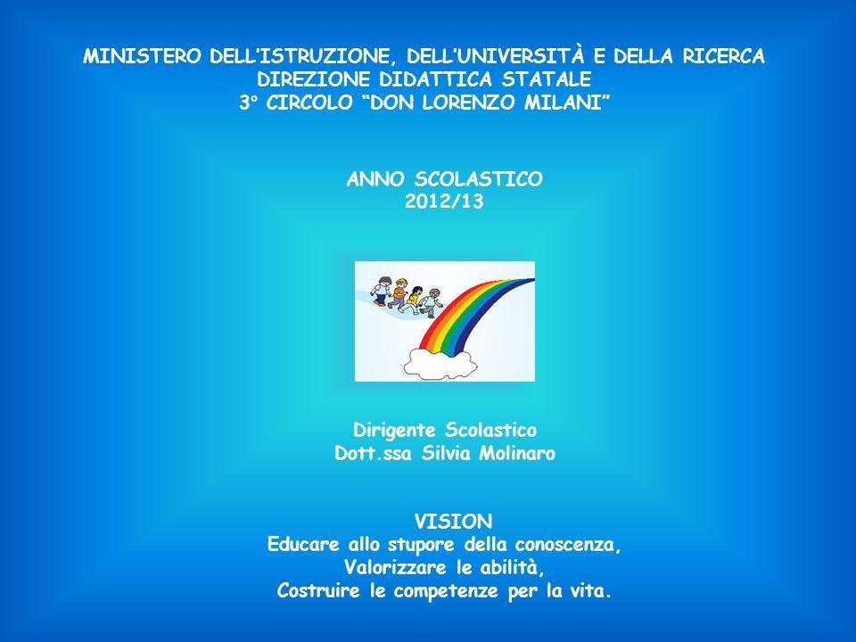 MINISTERO DELLISTRUZIONE, DELLUNIVERSITÀ E DELLA RICERCA DIREZIONE DIDATTICA STATALE 3° CIRCOLO DON LORENZO MILANI ANNO SCOLASTICO 2012/13 Dirigente Scolastico Dott.ssa Silvia Molinaro VISION Educare allo stupore della conoscenza, Valorizzare le abilità, Costruire le competenze per la vita.