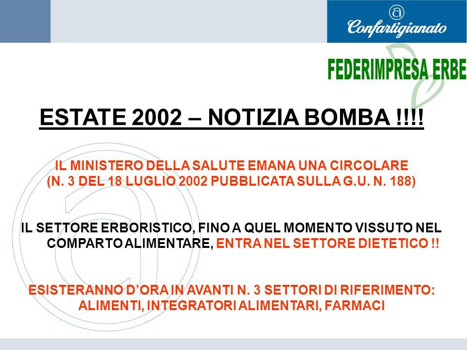 ESTATE 2002 – NOTIZIA BOMBA !!!! IL MINISTERO DELLA SALUTE EMANA UNA CIRCOLARE (N. 3 DEL 18 LUGLIO 2002 PUBBLICATA SULLA G.U. N. 188) IL SETTORE ERBOR