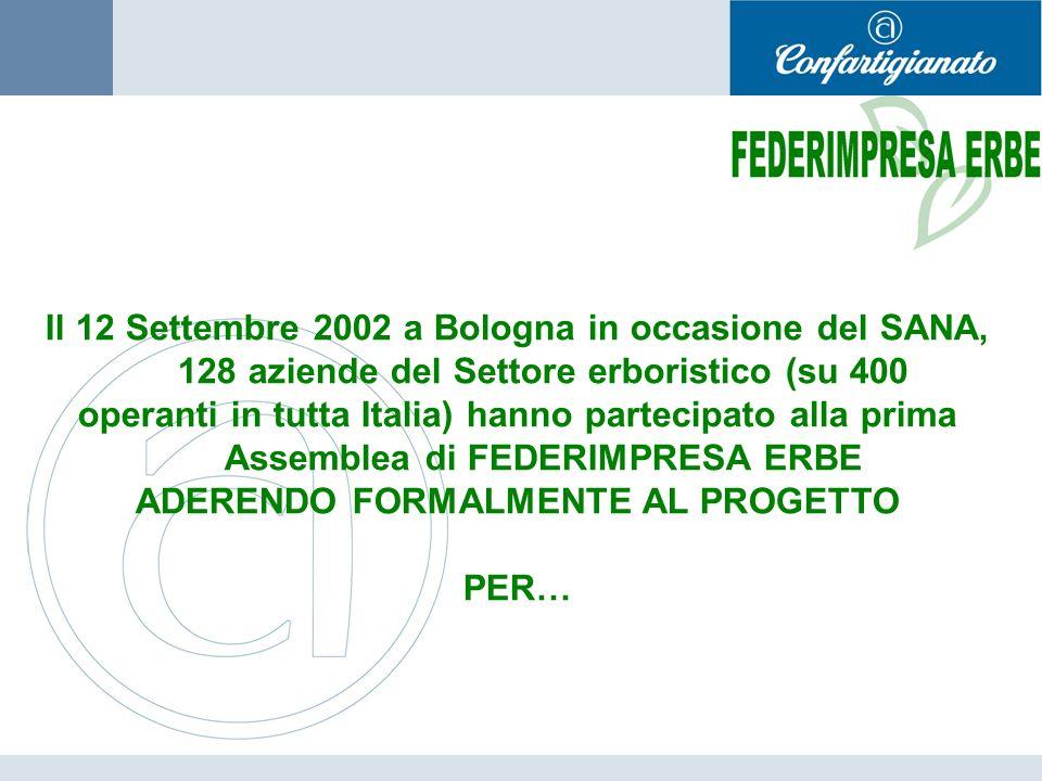 Il 12 Settembre 2002 a Bologna in occasione del SANA, 128 aziende del Settore erboristico (su 400 operanti in tutta Italia) hanno partecipato alla prima Assemblea di FEDERIMPRESA ERBE ADERENDO FORMALMENTE AL PROGETTO PER…