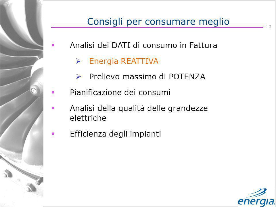 2 Analisi dei DATI di consumo in Fattura Energia REATTIVA Prelievo massimo di POTENZA Pianificazione dei consumi Analisi della qualità delle grandezze elettriche Efficienza degli impianti Consigli per consumare meglio
