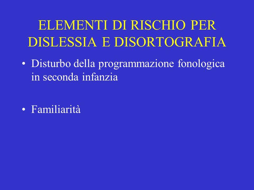 ELEMENTI DI RISCHIO PER DISLESSIA E DISORTOGRAFIA Disturbo della programmazione fonologica in seconda infanzia Familiarità