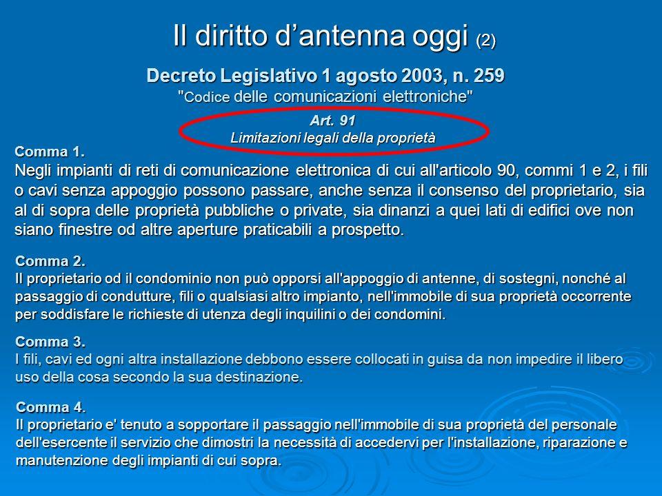 Il diritto dantenna oggi (2) Decreto Legislativo 1 agosto 2003, n. 259