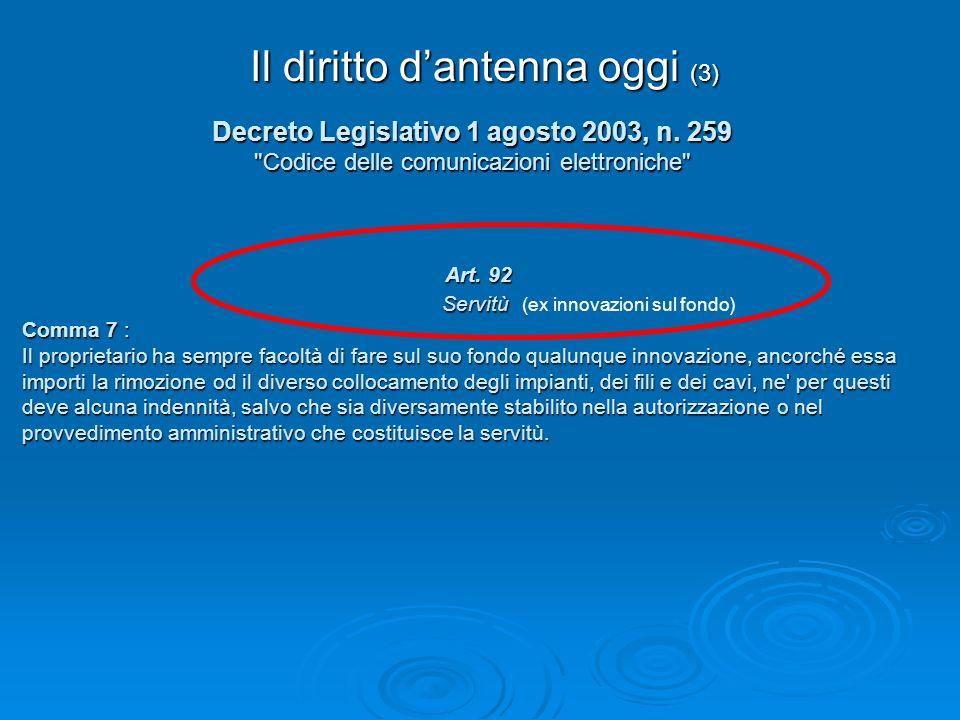 Il diritto dantenna oggi (3) Decreto Legislativo 1 agosto 2003, n. 259