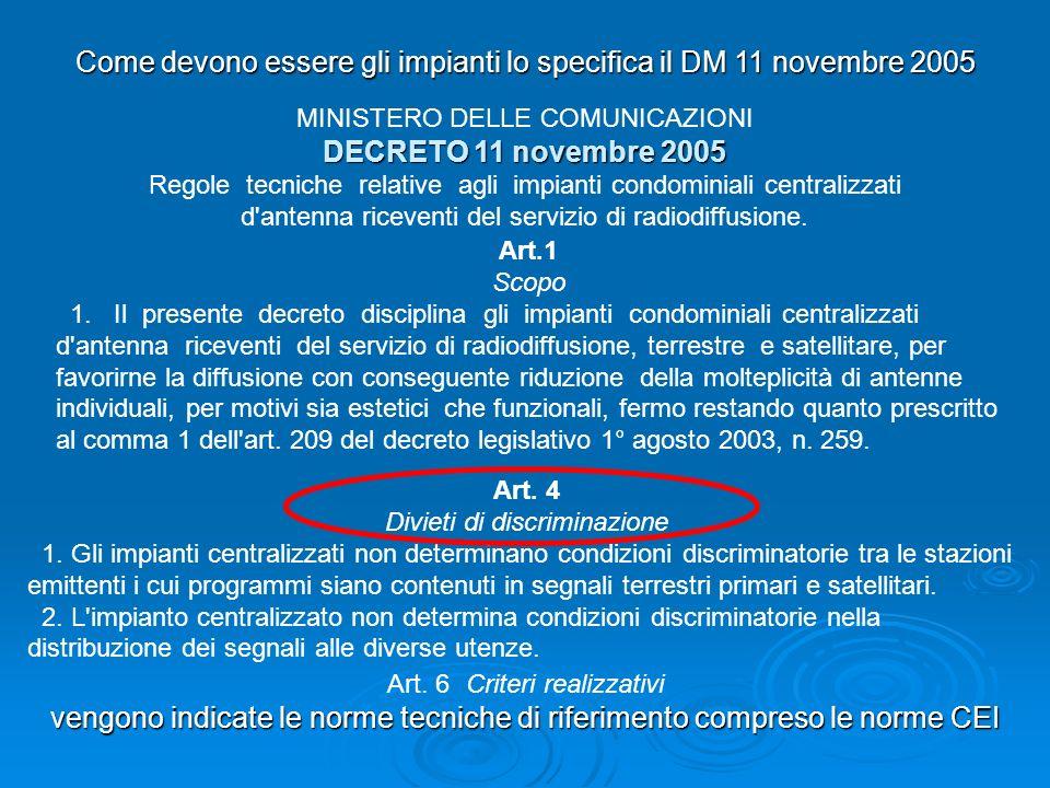 Come devono essere gli impianti lo specifica il DM 11 novembre 2005 MINISTERO DELLE COMUNICAZIONI DECRETO 11 novembre 2005 Regole tecniche relative ag