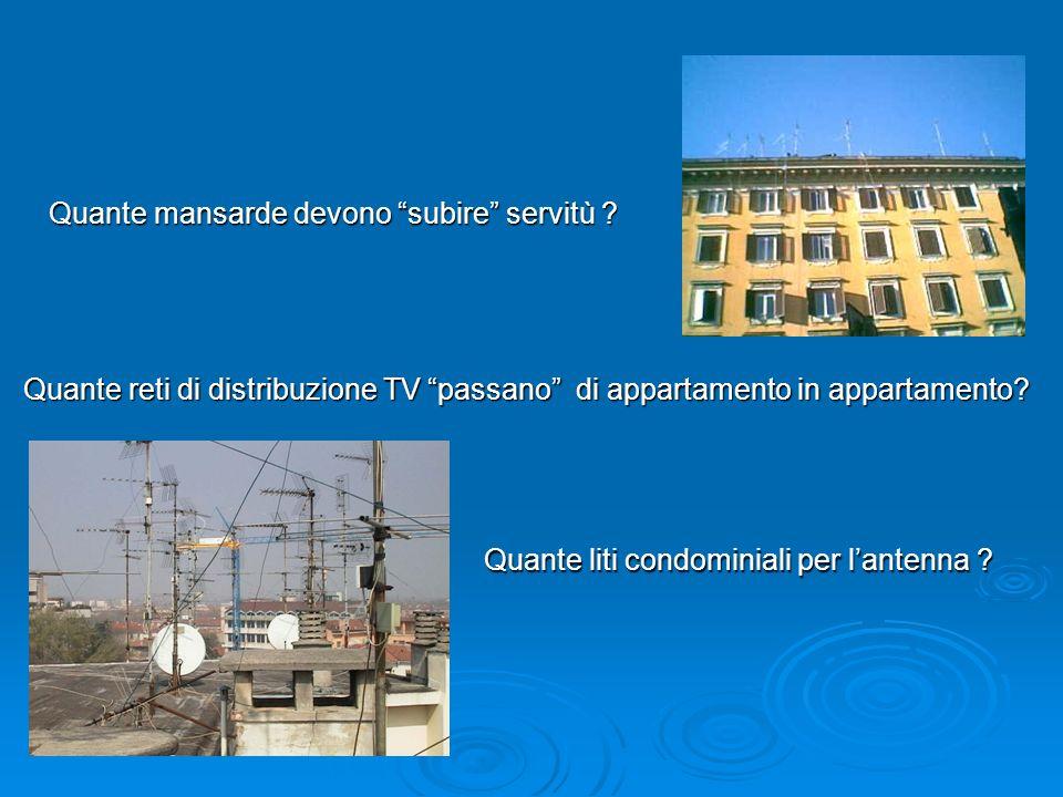 Quante mansarde devono subire servitù ? Quante reti di distribuzione TV passano di appartamento in appartamento? Quante liti condominiali per lantenna