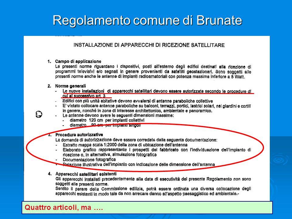 Regolamento comune di Brunate Quattro articoli, ma ….
