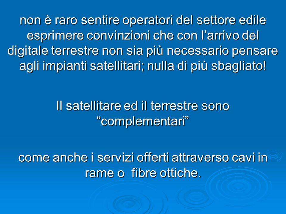Il satellitare ed il terrestre sono complementari come anche i servizi offerti attraverso cavi in rame o fibre ottiche. non è raro sentire operatori d