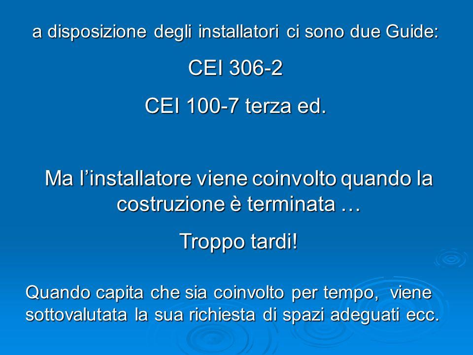 Ma linstallatore viene coinvolto quando la costruzione è terminata … Troppo tardi! a disposizione degli installatori ci sono due Guide: CEI 306-2 CEI