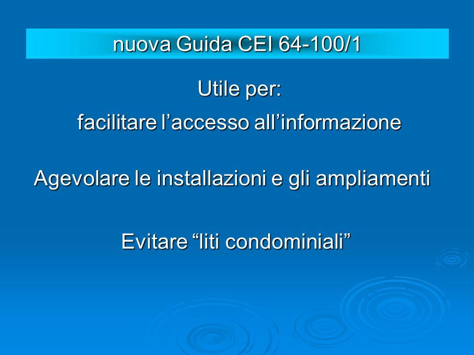 Utile per: facilitare laccesso allinformazione Agevolare le installazioni e gli ampliamenti Evitare liti condominiali nuova Guida CEI 64-100/1
