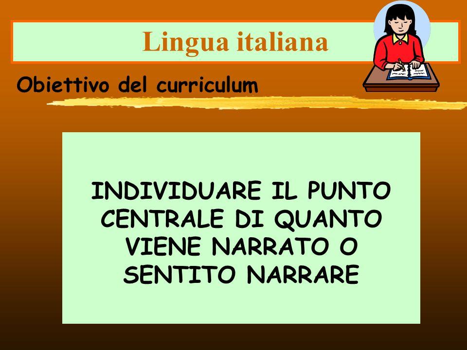 Lingua italiana INDIVIDUARE IL PUNTO CENTRALE DI QUANTO VIENE NARRATO O SENTITO NARRARE Obiettivo del curriculum