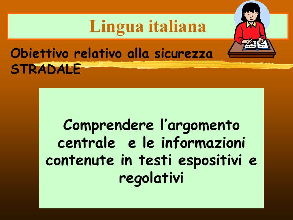 Lingua italiana Comprendere largomento centrale e le informazioni contenute in testi espositivi e regolativi Obiettivo relativo alla sicurezza STRADAL