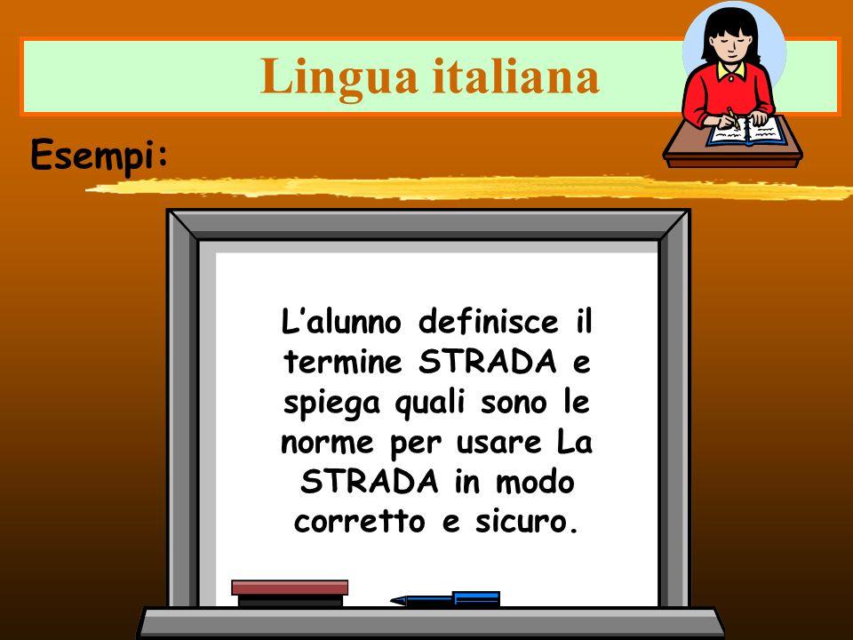 Lingua italiana Lalunno definisce il termine STRADA e spiega quali sono le norme per usare La STRADA in modo corretto e sicuro. Esempi: