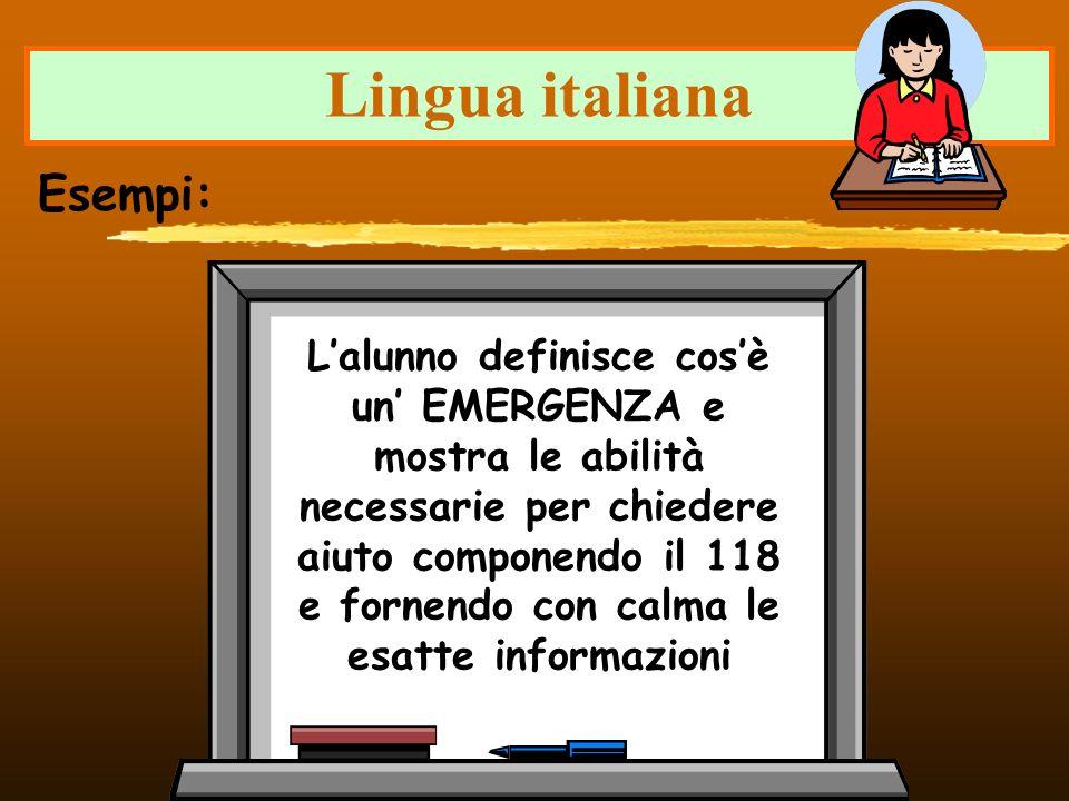 Lingua italiana Lalunno definisce cosè un EMERGENZA e mostra le abilità necessarie per chiedere aiuto componendo il 118 e fornendo con calma le esatte