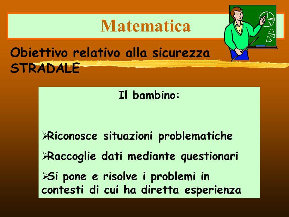 Matematica Il bambino: Riconosce situazioni problematiche Raccoglie dati mediante questionari Si pone e risolve i problemi in contesti di cui ha diret